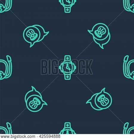 Set Line Diving Watch, Scallop Sea Shell And Mask With Snorkel On Seamless Pattern. Vector