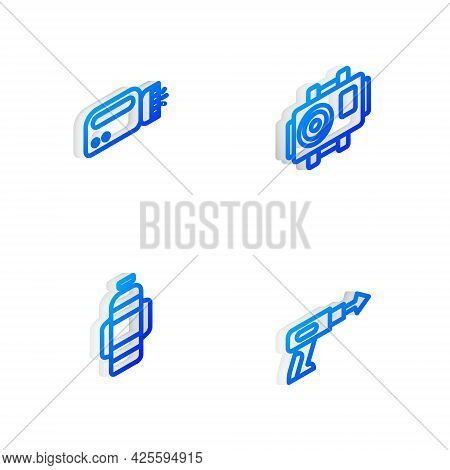 Set Isometric Line Photo Camera For Diver, Flashlight, Aqualung And Fishing Harpoon Icon. Vector