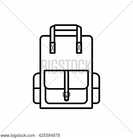 School Backpack, Simple Linear Icon Isolated On White Background. Goods For School, Hiking Trips. Ed