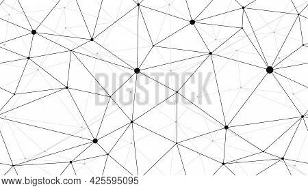 Technology Communication Seamless Vector Pattern With Connected Thin Lines, Black And White Monochro