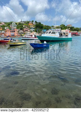 St Georges, Grenada - June 17, 2021: Boats In The Bay At St Georges, Grenada.