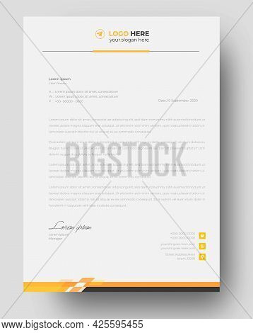 Corporate Modern Business  Letterhead Design Template With Yellow Color. Creative Modern Letter Head