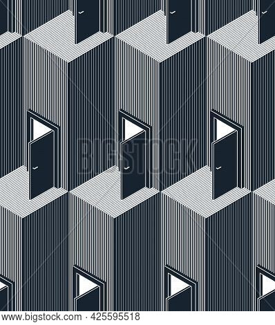 Doors Seamless Vector Background, Surreal 3D Dimensional Interior Theme.