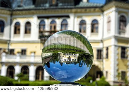 Betliar Mansion Building In Crystal Ball, Slovakia, Travel Destination. Architectural Theme.