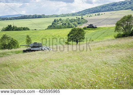 Historic Russian Tanks T34 In The Death Valley, Near Kapisova Village, Slovak Republic. World War Ii