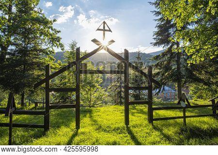 War Cemetery With Sunrays, Topola Village, Slovak Republic, Europe. Travel Destination.