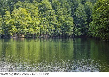 Morske Oko Lake, Vihorlat Mountains, East Slovak Republic. Seasonal Natural Scene.