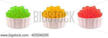 Tapioca Pearls For Bubble Tea Isolated On White Background. Mix Tapioca Fruit Pearls In Bowl