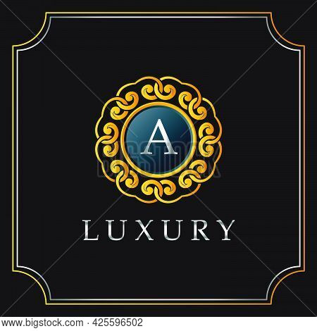 Luxury Mandala Badge A Letter Logo Design. Elegant Ornate Decoration Luxurious Logo Template.
