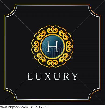 Luxury Mandala Badge H Letter Logo Design. Elegant Ornate Decoration Luxurious Logo Template.