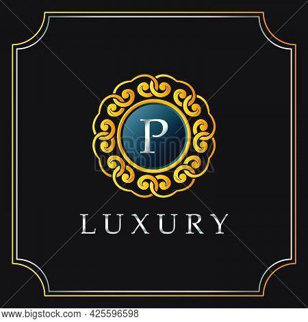 Luxury Mandala Badge P Letter Logo Design. Elegant Ornate Decoration Luxurious Logo Template.