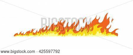 Fire Flames. Flammable Line Blaze Hot Temperature. Vector Fire Flames