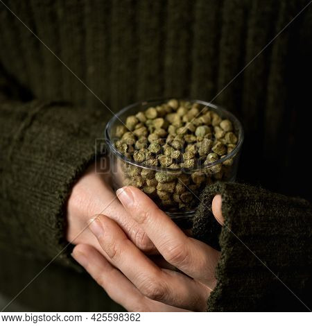 Woman Holds Malt, Ingredient For Making Craft Beer. Female Hands Holding Glass Of Dry Granulated Mal