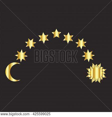 Set Of Golden Moon, Stars, Sun, Magical Astrology And Boho. Magic Concept, Minimalism. Figure Astrol