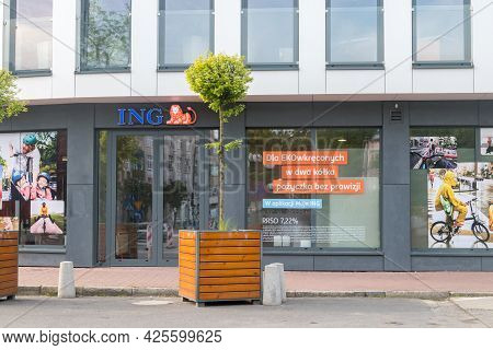 Gorzow Wielkopolski, Poland - June 1, 2021: Front Of Ing Bank Building.