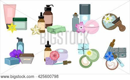 A Set Of Natural Organic Cosmetics In Tubes, Bottles, Jars, And Bubbles For Skin Beauty In A Fashion