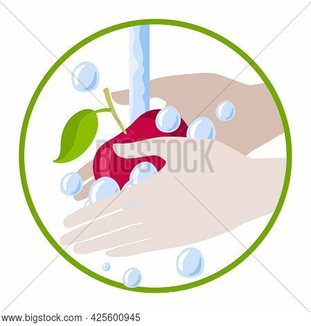 Round Sign Wash Fruit After Marke. Hands Wash Apple With Water And Soap Vector Isolated On White Bac
