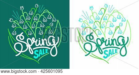 Abstract Spring Doodle Flower Lily Of The Valley And Words Spring Sale