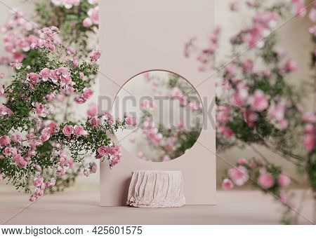 3d Background Pink Cloth Podium Display. Nature Rose Flower Blossom. Feminine Summer And Spring Past