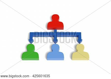 Corporate Hierarchy With Figurines Isolated On White Background. 3d Illustration.
