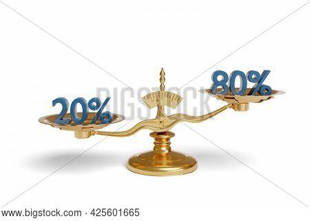 Balance Scale Showing The Pareto Principle. 3d Illustration.