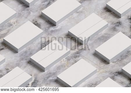Stacks Of Business Cards On Marble Surface. 3d Illustraton.