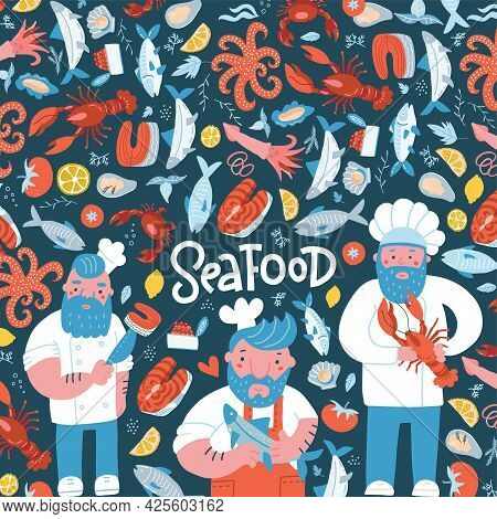 Hand Drawn Seafood Restaurant Illustration Banner Template Design For Menu, Advertise And Brochure.