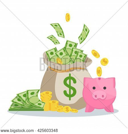 Money Bag With Banknotes. Symbol Of Wealth, Success