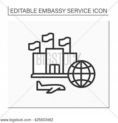 Government Line Icon. Help And Support Citizens From Different Countries. Worldwide Organization.emb