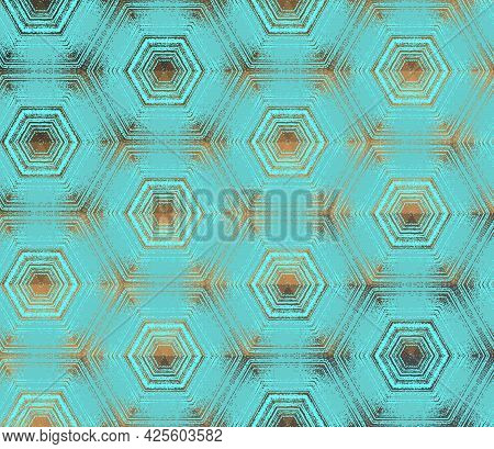 Hexagon Pattern, Abstract Cyan, Teal And Bronze Textured Kaleidoscope Ornament. Symmetric Geometric