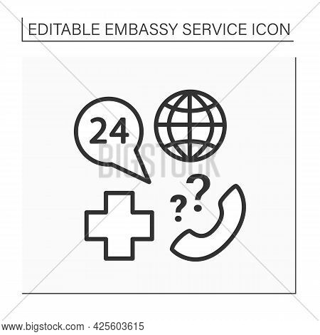 Medical Support Line Icon. Communication And Consultation About Illnesses, Deaths, And Different Tra