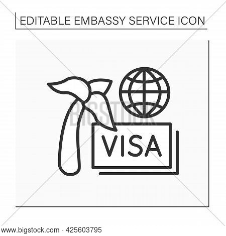 Travel Visa Line Icon. Documentary For Being Abroad. Tourism, Limited Period. Trip To Another Countr
