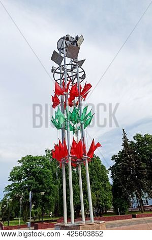 Belarus, Novopolotsk - 02 Jule, 2021: Red-green Flags Of Belarus Close Up