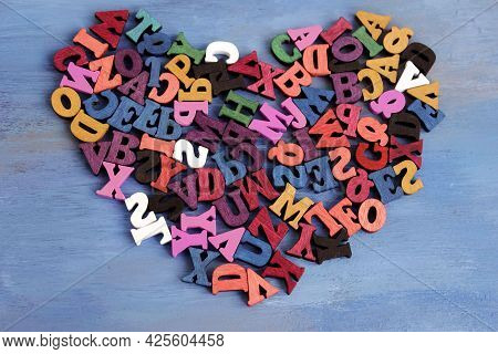Multicolored Letters Of The Alphabet. The Alphabet Is In A Chaotic State. Letters As A Symbol Of Rea