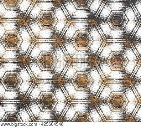 Geometric Abstract White And Dark Gray With Metallic Copper Texture Kaleidoscopic Hexagonal Pattern.