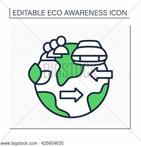 Carpooling Line Icon. Roadsharing. Sharing Private Cars With Fellow Travelers.eco Awareness Concept.