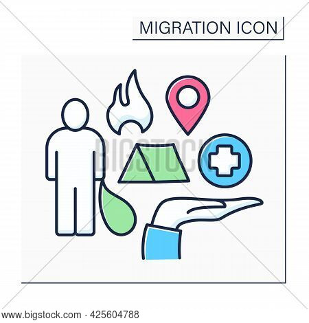 Refugee Color Icon. Forced Escape From Motherland Due To War, Disasters. Searching For Better Medici