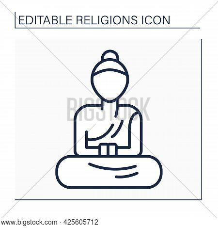 Buddhism Line Icon. Buddha Statues In Monasteries. Style Of Sculpture For Buddhism Beliefs. Religion