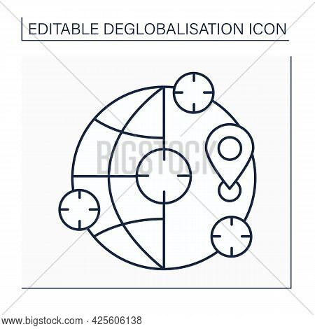Subsidiarity Line Icon. Solving Social Or Economic Issues Locally. Deglobalisation Concept. Isolated