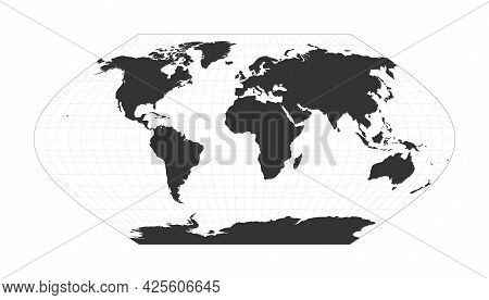 Map Of The World. Eckert V Projection. Globe With Latitude And Longitude Net. World Map On Meridians