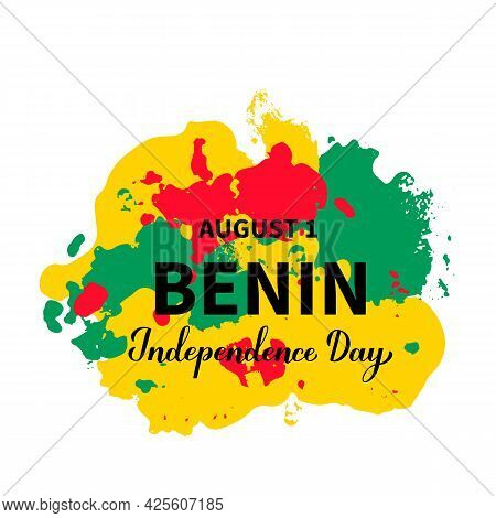Benin Independence Day Typography Poster. National Holiday Celebrate On August 1. Easy To Edit Vecto