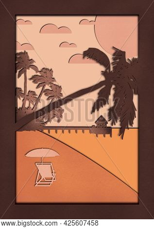 Travel Postcard With Tropical Island, Ocean, Beach And Bungalow In Digital Paper Art Technique