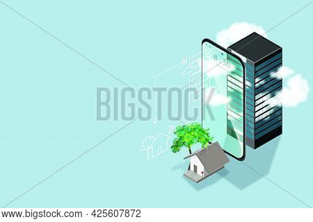 Work From Home Concept Is Presented In Isometric Style Of Home And Smart Phone And Office Building T