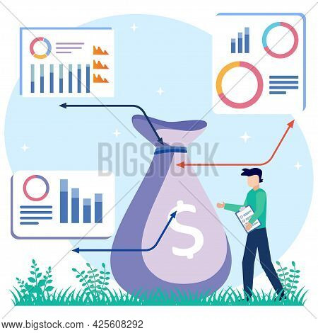 Vector Illustration Of Business Concept, Businessman Getting A Lot Of Business Profits. Fast Economi