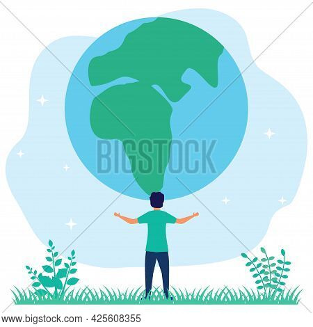 Vector Illustration Of Caring For The Earth As Environmental Ecology Concept And Green Planet. Ecosy
