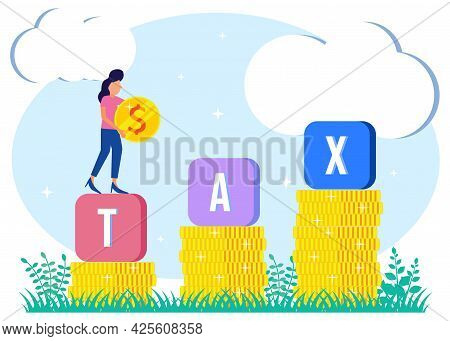 Vector Illustration Of Business Woman Paying Tax Concept. Financial Services To Pay For Government N