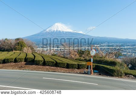 Mount Fuji With Snow And Green Tea Plantation In Yamamoto, Fujinomiya City, Shizuoka Prefecture, Jap