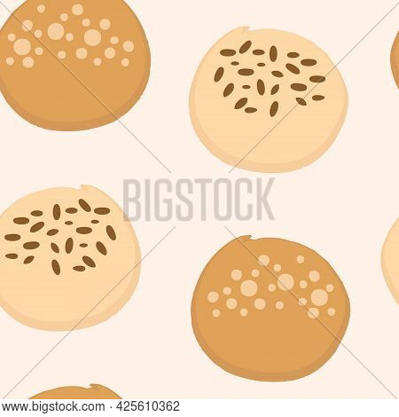 Sweet Buns Pastry Seamless Bakery Pattern. Design For T-shirt, Textile And Prints. Hand Drawn Vector