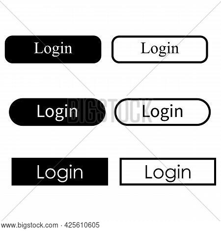 Login Button On White Background. Login Sign. Login Icon Symbol. Button For A Site. Flat Style.