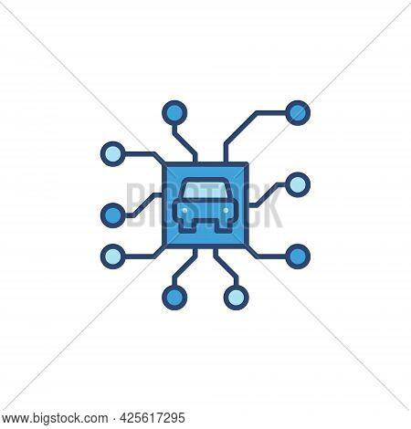 Autonomous Automobile Chip Blue Icon. Autopilot Vector Symbol